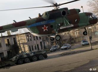 A Russian helicopter is seen landing in the town of Ochamchire in Georgia's separatist region of Abkhazia.