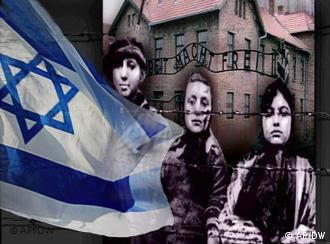An Israeli flag and Holocaust survivors
