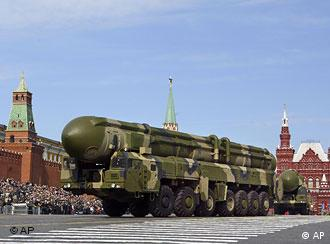Russian Topol intercontinental ballistic missiles roll in the annual Victory Day parade at the Moscow Red Square, on Friday, May 9, 2008