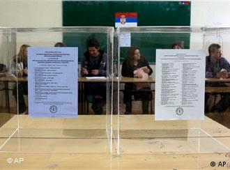 Polling boxes in northern Serb-dominated part of ethnically divided town of Kosovska Mitrovica