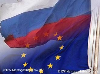 Russia, EU flags