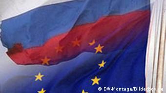 Коллаж из флагов ЕС и России