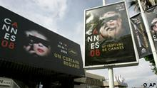 Posters of the 61st International Cannes film festival are seen at an entrance of the Cannes Festival Palace two days before the opening of the 61st International film festival in Cannes, southern France, on Monday, May 12, 2008. The Cannes film festival takes place until May 25. (AP Photo/Lionel Cironneau)