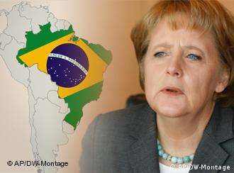 Angela Merkel in front of Brazil map