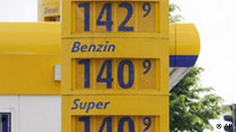 Signs with gas prices at a gas station