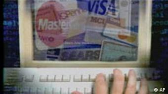 Computer screen showing collage of credit cards, e-commerce, Ecommerce