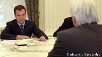 Germany's Foreign Minister Frank-Walter Steinmeier meets with Russian President Medvedev
