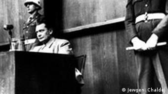Hermann Goering at the Nuremberg trials