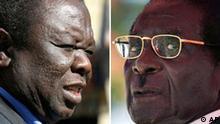 Kombo Simbabwe Morgan Tsvangirai und Robert Mugabe