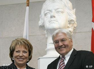 Steinmeier, right, with St. Petersburg Governor Valentina Matviyenko