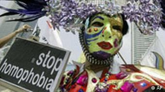 Gay rights activists demonstrate on the International Day Against Homophobia in Jakarta