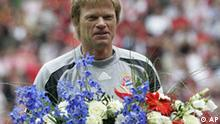 Munich goalkeeper Oliver Kahn laughs during the farewell ceremony prior the German first division Bundesliga soccer match between FC Bayern Munich and Hertha BSC Berlin in Munich, southern Germany, on Saturday, May 17, 2008. Munich won the German soccer championship already prior this match. Oliver Kahn abandoneds FC Bayern Munich. (AP Photo/Christof Stache) ** Eds note German spelling of Munich is Muenchen. ** FOR THE DURATION OF THE MATCH THE DFL (GERMAN FOOTBALL LEAGUE) ALLOWS THE PUBLICATION OF A MAXIMUM OF SIX IMAGES PER MATCH PER WEBSITE. FOR FURTHER QUESTIONS PLEASE CONTACT THE DFL DIRECTLY AT +49-69-650050. **