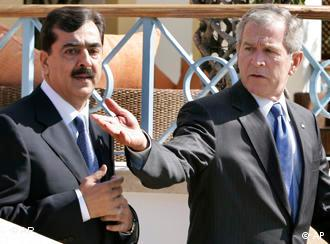 U.S. President Bush, right, and Pakistani Prime Minister Yousuf Raza Gilani after a meeting in Egypt in May