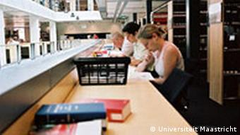 Students at a university library