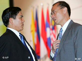 Myanmar's Foreign Minister Nyan Win, left, with his Singapore counterpart George Yeo at an ASEAN Foreign Ministers Meeting in May