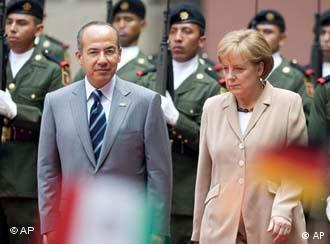 El presidente mexicano, Felipe Calderón, y la canciller alemana, Angela Merkel.