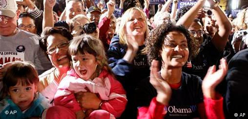 Supporters cheer for Barack Obama