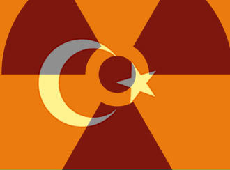 a montage of the Turkish flag and the nuclear symbol