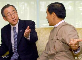 U.N. Secretary-General Ban Ki-moon, left, talks with Myanmar's Foreign Minister Nyan Win during a meeting in Yangon last week