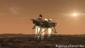 Eine Illustration der NASA zeigt die Landung der Raumsonde 'Phoenix' auf der Mars-Oberfläche (Foto: dpa)