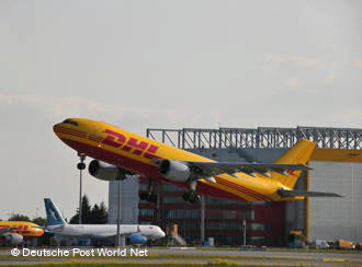 DHL cargo plane taking off in Leipzig