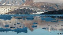 This undated photo provided by the journal Science shows East Greenland icebergs. Large numbers of bergs are calved each year from the fast-flowing terminus of Kangerdlussuaq Glacier, East Greenland. Iceberg production is a major form of mass loss from ice sheets. (AP Photo/ho/J.A. Dowdeswell, Science)