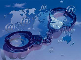 Symbolic image of handcuffs and a world map