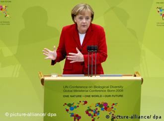 Angela Merkel speaking at the conference