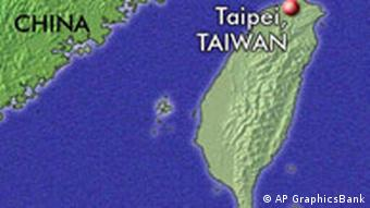 Map of Taiwan with the capital, Taipei and part mainland China
