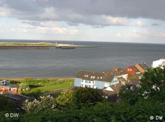 The two parts of Helgoland seen from the shore of one side