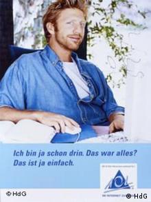 Boris Becker mit dem Werbe-Versuch, das Internet nach Deutschland zu bringen