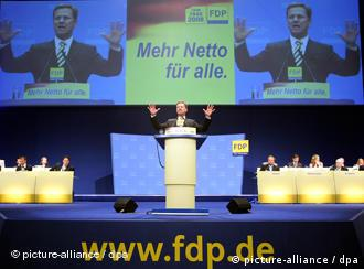 FDP head Westerwelle speaks at party conference