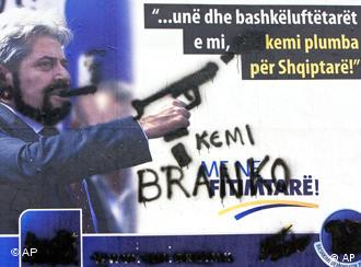 Hand sprayed campaign poster of Albanian party leader of the Democratic Union for Integration, (DUI), of Ali Ahmeti, in Tetovo, Macedonia