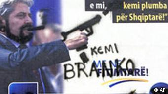 Hand-sprayed campaign poster of Albanian party leader of the Democratic Union for Integration, (DUI), of Ali Ahmeti
