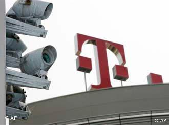 Telekom logo with surveillance cameras