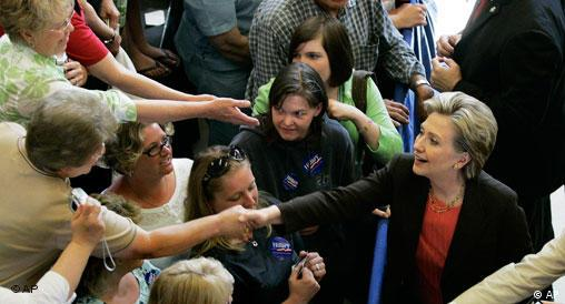 Democratic presidential hopeful Sen. Hillary Rodham Clinton, D-N.Y., shakes hands at a campaign event in Yankton, S.D.