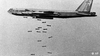 A U.S. B-52 Stratofortress drops a load of 750-pound bombs over a Vietnam coastal area during the Vietnam War, Nov. 5, 1965. Boeing's B-52 bomber has never been used the way it was initially intended: dropping nuclear bombs on an enemy a continent away. But the plane, which turns 50 years old Thursday, Nov. 29, 2001, has proven versatile enough to be kept around, seeing action in every major conflict since Vietnam, including the war over Afghanistan. (AP Photo/USAF, File)