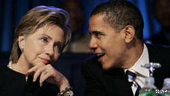 ** FILE ** In this July 19, 2006, file photo Sen. Hillary Rodham Clinton, D-N.Y., speaks with Sen. Barack Obama, D-Ill., right, during the annual convention of the National Association for the Advancement of Colored People in Washington, prior to their race for the Democratic presidential nomination. After Obama secured the nomination Tuesday, June 3, 2008, he called Clinton in the evening and left a message. Meanwhile, Clinton's aides and surrogates have pitched her for the No. 2 spot, though she has not officially ended her campaign. (AP Photo/Evan Vucci, File )