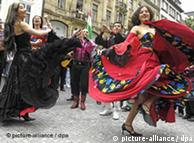 Roma people celebrating at a festival