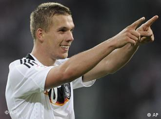 Germany's Lukas Podolski reacts after scoring his second goal during the group B match between Germany and Poland in Klagenfurt, Austria, Sunday, June 8, 2008, at the Euro 2008 European Soccer Championships in Austria and Switzerland. (AP Photo/Martin Meissner)