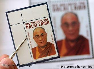 Stamp showing the Dalai Lama