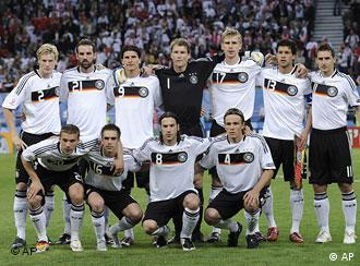 The German team, back row from left, Marcell Jansen, Christoph Metzelder, Mario Gomez, Jens Lehmann, Per Mertesacker, Michael Ballack, Miroslav Klose, and, front row from left, Lukas Podolski, Philipp Lahm, Torsten Frings and Clemens Fritz pose for a group photo during the group B match between Germany and Poland in Klagenfurt, Austria, Sunday, June 8, 2008, at the Euro 2008 European Soccer Championships in Austria and Switzerland.