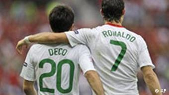 Portugal's scorer Deco and Cristiano Ronaldo celebrate after Ronaldo scored their side's second goal during the group A match between Czech Republic and Portugal in Geneva