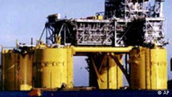 Shell USA floating oil platform, photo on black Ölplattform