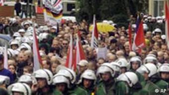 A far-right march, with a police cordon