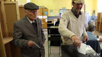 Two man cast their votes