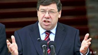 Taoiseach Brian Cowen speaks to the media media at Goverment Buildings, Dublin