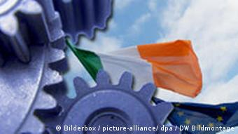 Drawing of an Irish flag caught in moving gears