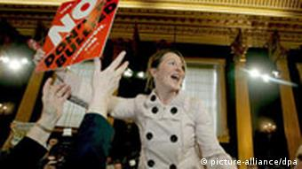 A member of the NO campaign in The Lisbon Treaty Referendum celebrates the official result
