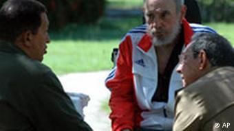Hugo Chavez, Fidel und Raul Castro (Quelle: AP)